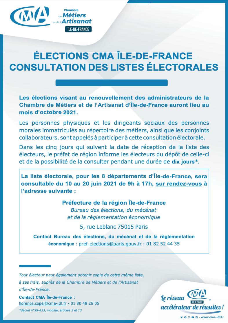 ÉLECTIONS CMA ÎLE-DE-FRANCE CONSULTATION DES LISTES ÉLECTORALES